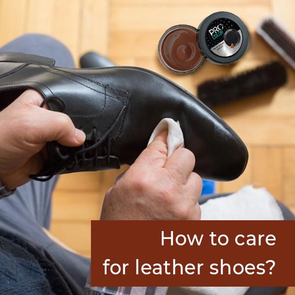 someone polishing black leather shoes with PRO shoe cream